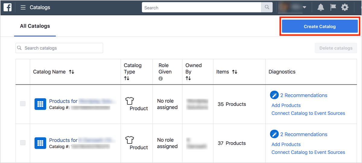Create a product catalogue button in Business Manager