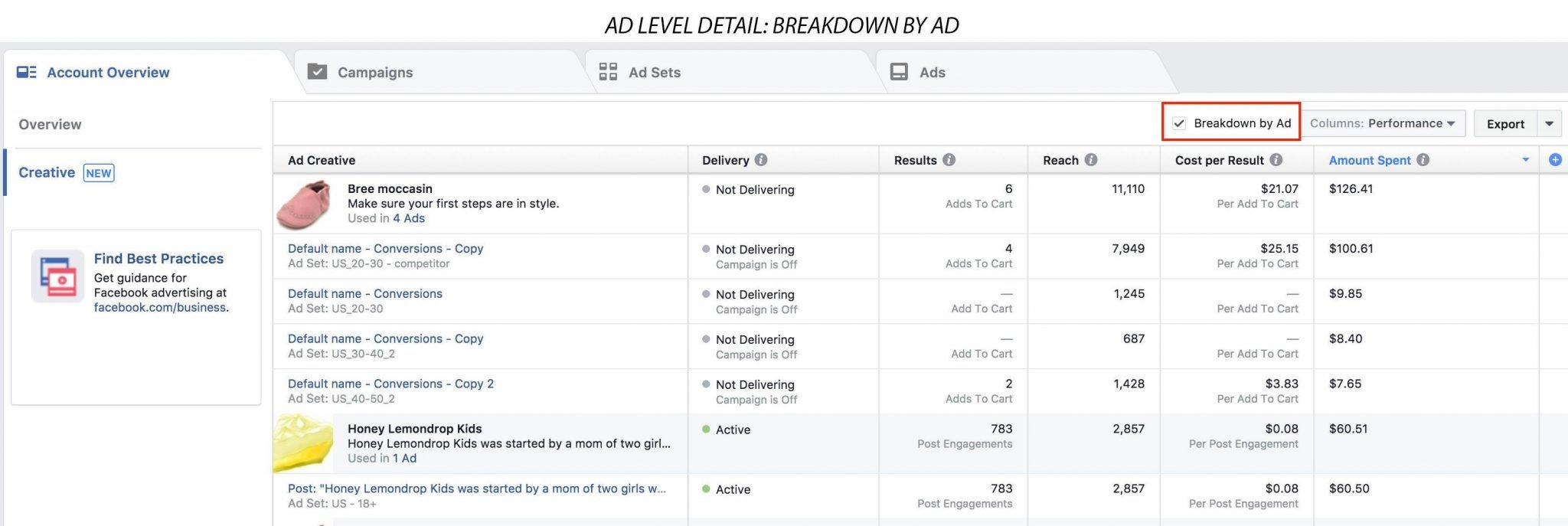 Facebook introduces Creative Reporting in Ads Manager and
