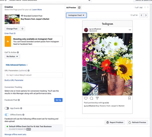 How to create Instagram Branded content ads in Ads Manager