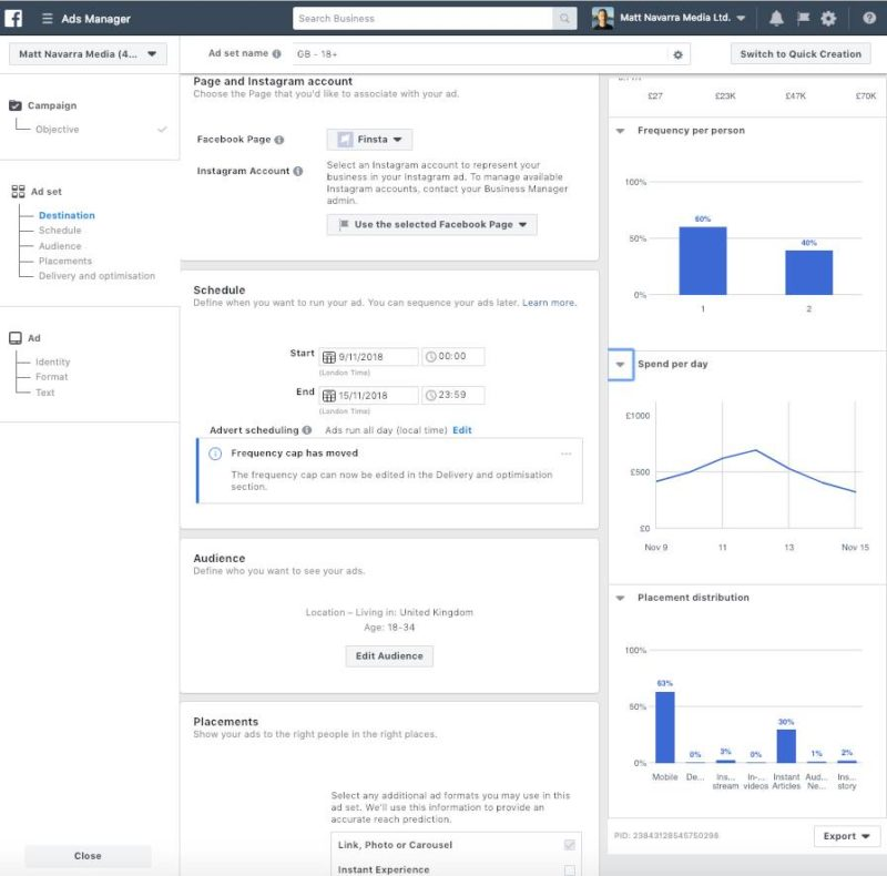 New Facebook Ad Manager interface frequency spend per day placement