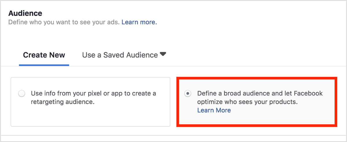 create a dynamic ads campaign for product audiences