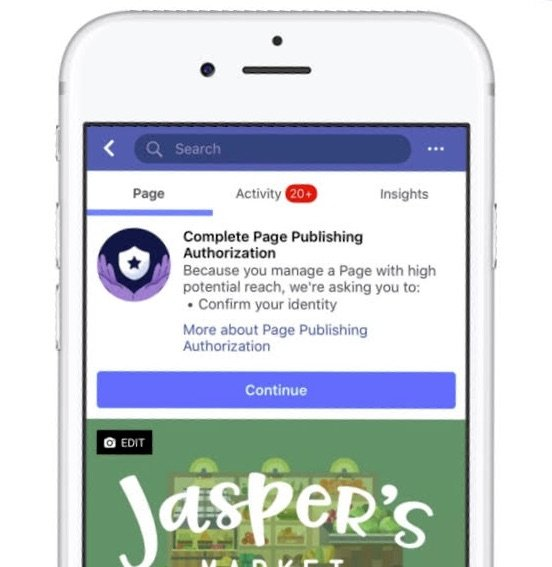 Facebook adds a new authorization process for Facebook Page