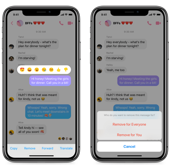 Messenger introduces the option to delete sent messages