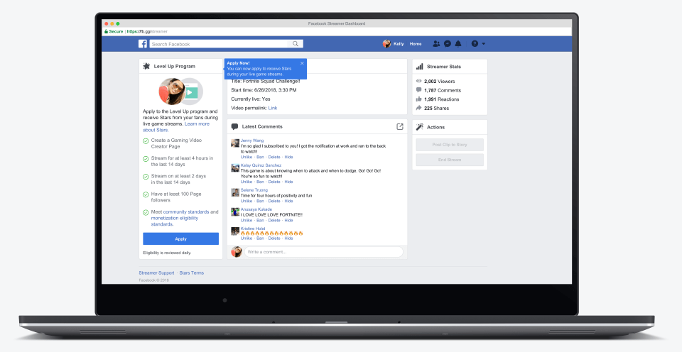 Facebook announced a new program for gaming creators