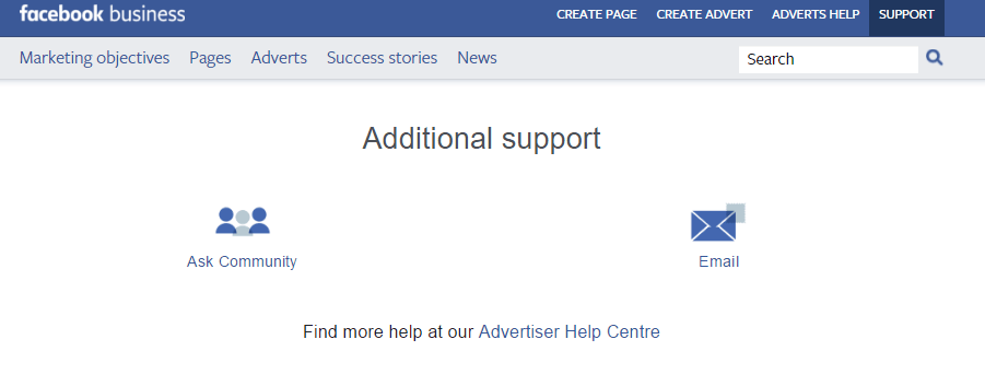 Kết quả hình ảnh cho facebook advertiser support
